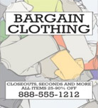 Image: Bargain Clothing Hanging Banner Template
