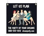 Image: Party planner Window Sign