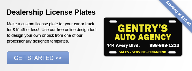 Image: Dealership License Plates!
