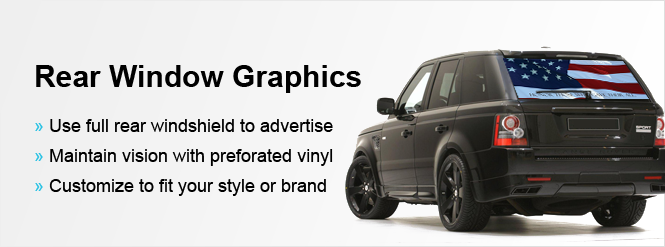 Image advertise with a rear window graphic